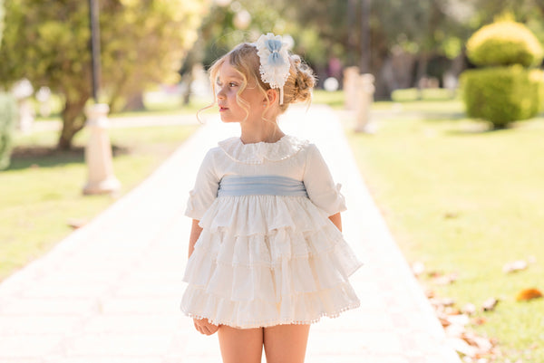 SS20 Dolce Petit Girls Ivory & Baby Blue Dress 2238-V
