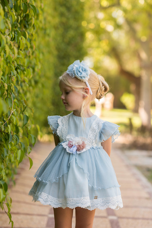 SS20 Dolce Petit Girls Blue & Ivory Lace Dress 2239-V