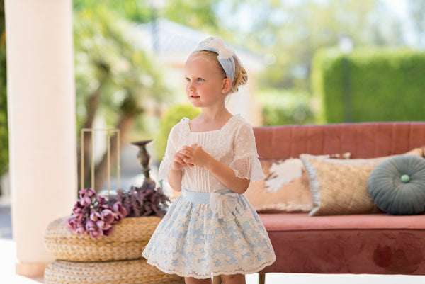 SS20 Dolce Petit Girls Blue & Ivory Skirt Set 2240-23