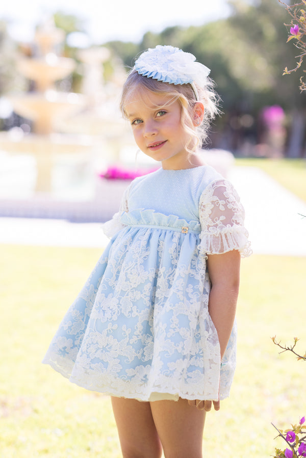 SS20 Dolce Petit Girls Baby Blue & Ivory Lace Dress 2240-V