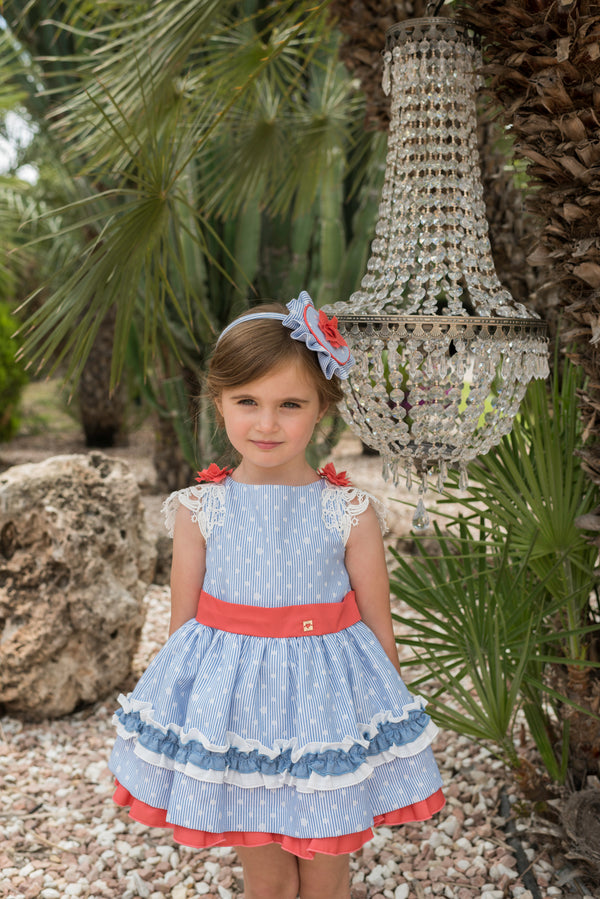 SS20 Dolce Petit Girls Blue, White & Coral Dress 2242-V