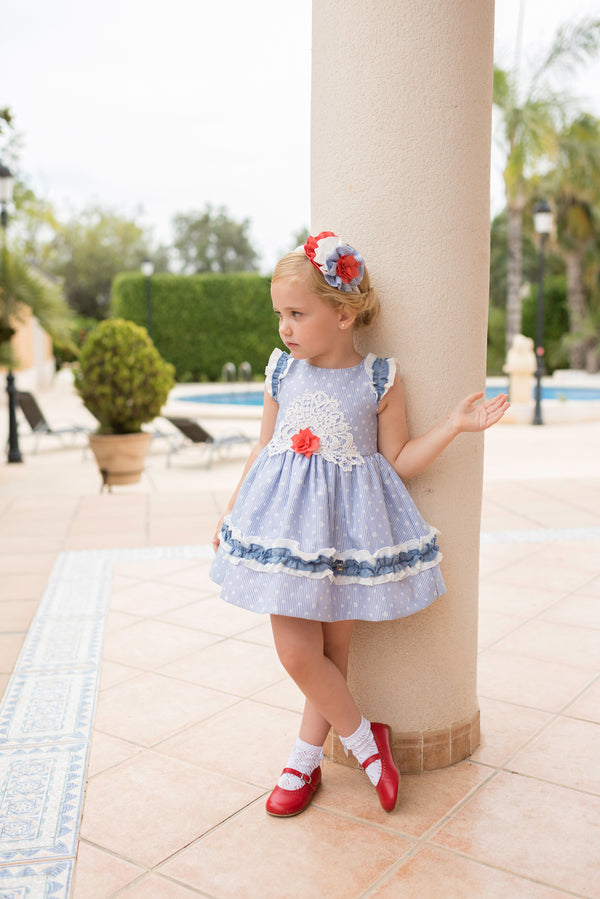 SS20 Dolce Petit Girls Blue, White & Coral Flower Dress 2243-V