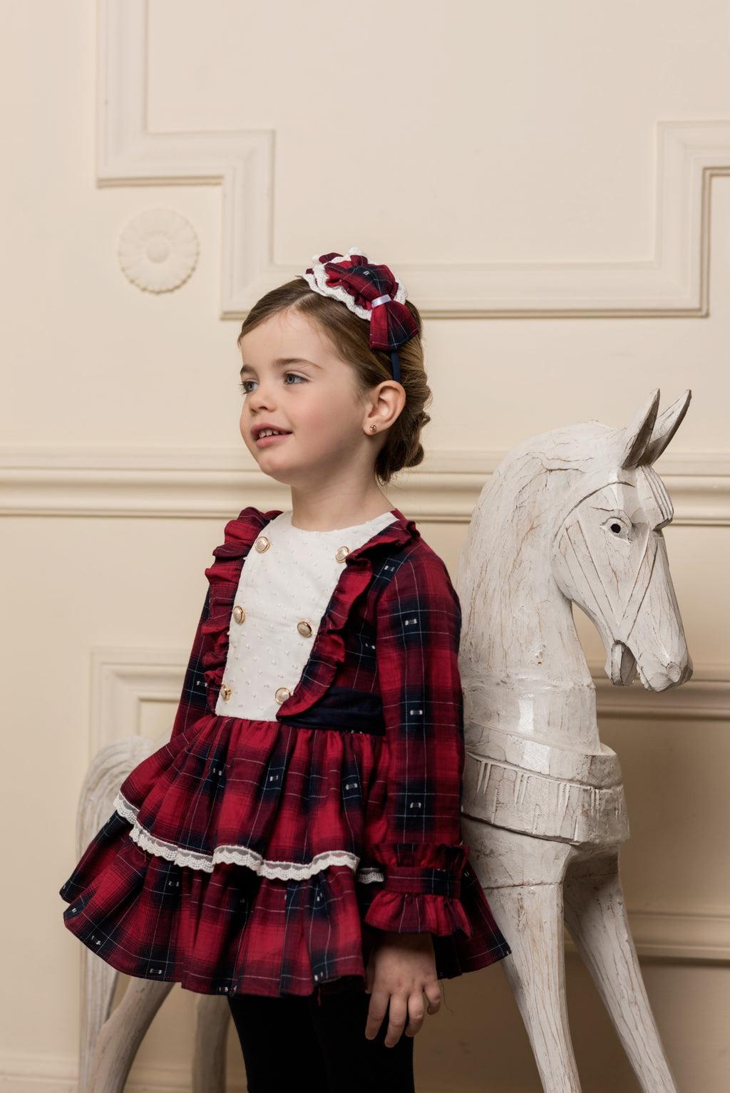 AW18 Dolce Petit Girls Red & Navy Check Dress 2244-V