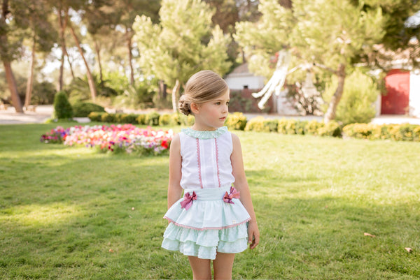 SS20 Dolce Petit Girls Mint Green & Pink Skirt Set 2245-23