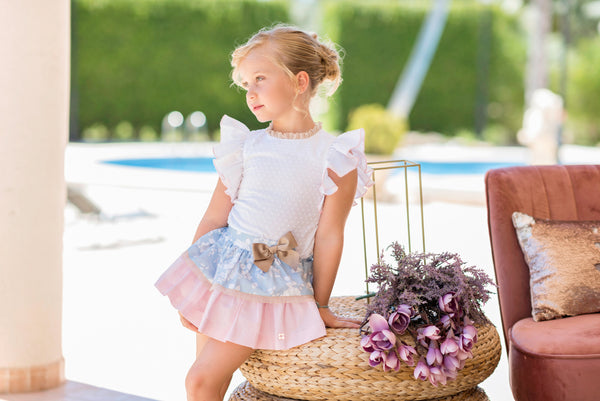 SS20 Dolce Petit Girls White, Pink & Blue Skirt Set 2252-23