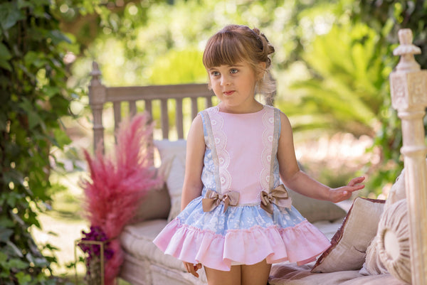 SS20 Dolce Petit Girls Pink & Blue Dress 2253-V