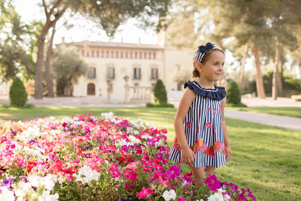 SS20 Dolce Petit Girls Navy Blue & White Stripe Flower Dress 2255-V