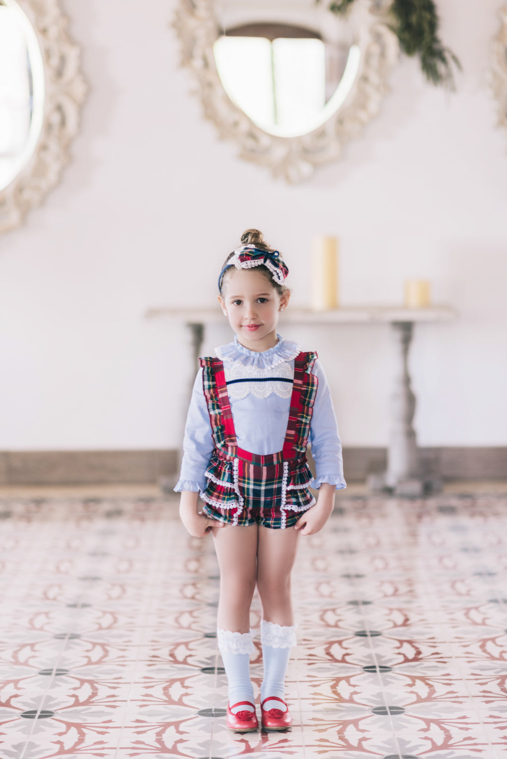 AW17 Dolce Petit Girls Tartan Braces Shorts Set 2257-2/3 - Liquorice Kids