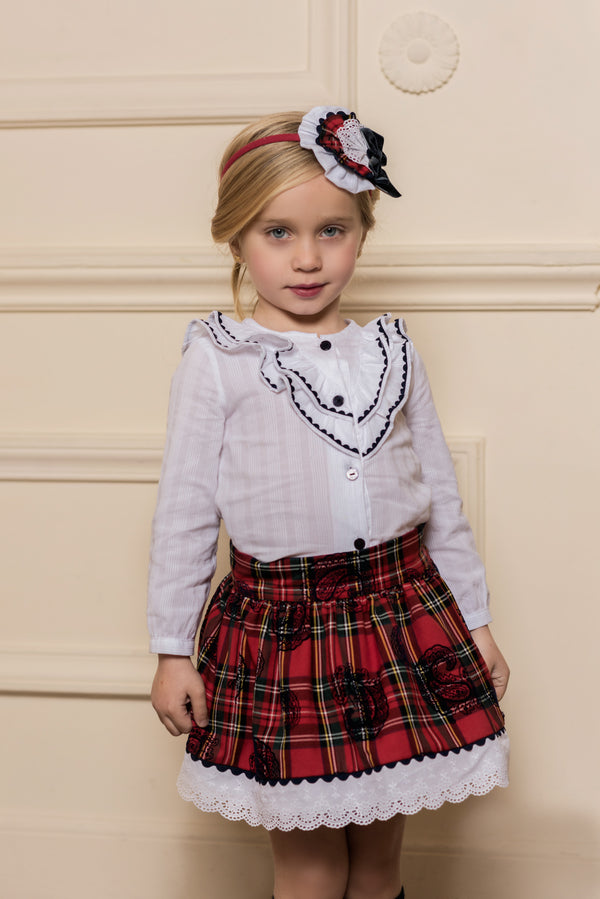 AW18 Dolce Petit Girls Red Tartan Skirt Set 2258-23