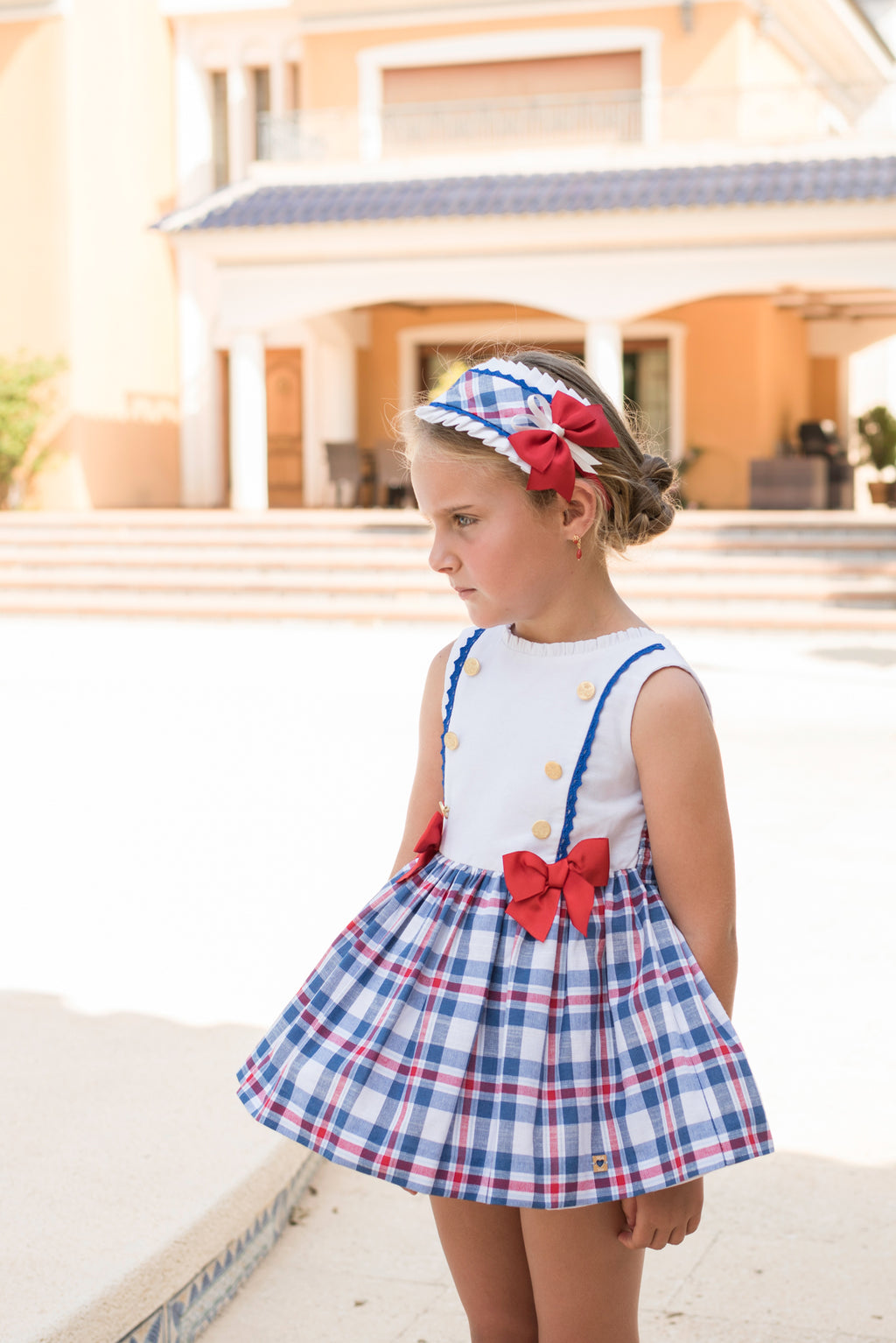 SS20 Dolce Petit Girls Red, White & Blue Check Dress 2260-V