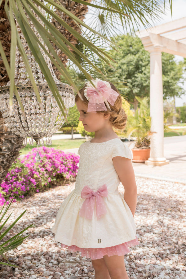 SS20 Dolce Petit Girls Ivory & Pink Bow Dress 2264-V