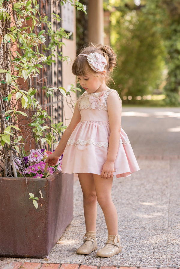SS20 Dolce Petit Girls Pink & Ivory Lace Dress 2265-V