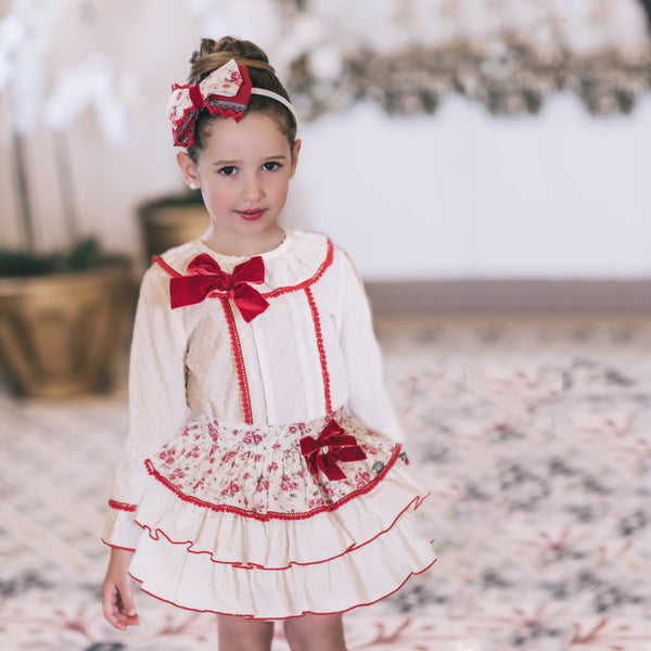 AW17 Dolce Petit Girls Cream & Red Floral Pattern Skirt Set 2273-2/3 - Liquorice Kids