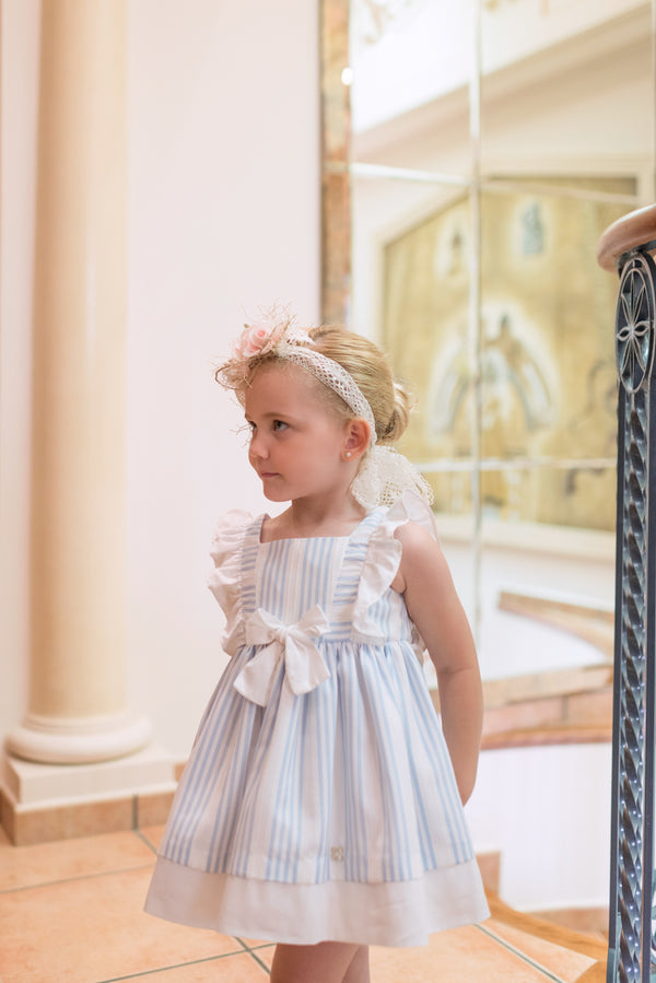 SS20 Dolce Petit Girls Blue & White Bow Dress 2291-V