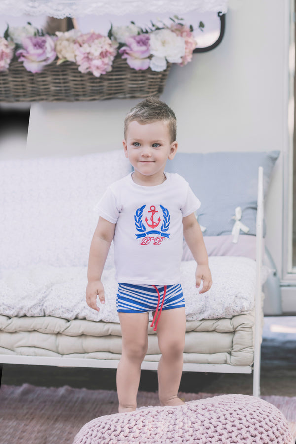 d86670c687 SS18 Dolce Petit Baby Boys Blue & White Anchor Swim Shorts & Top 0-24