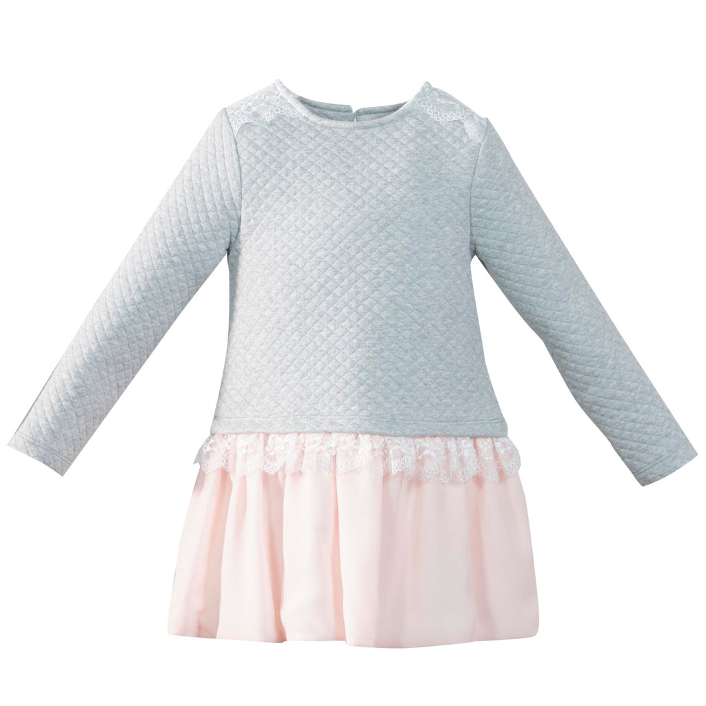 AW17 Patachou Girls Grey & Pink Lace Detail Dress - Liquorice Kids