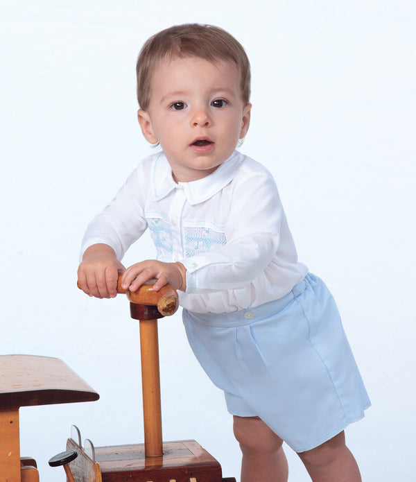 AW19 Sarah Louise Baby Boy White & Blue Buster Suit