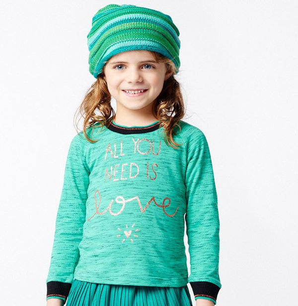 AW16 Mim-Pi Girls Green 'All You Need Is Love' Top 269 - Liquorice Kids