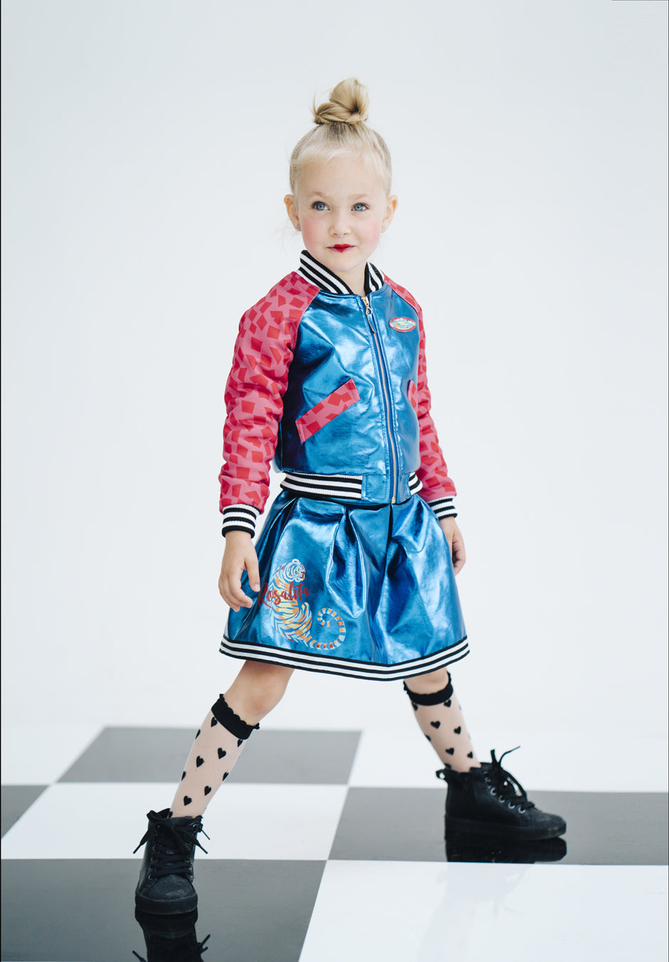 AW17 Rosalita Senoritas Girls Pink & Electric Blue Bomber Jacket In Skirt Set - Liquorice Kids