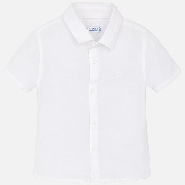 SS18 Mayoral Toddler Boys White Linen Shirt 120