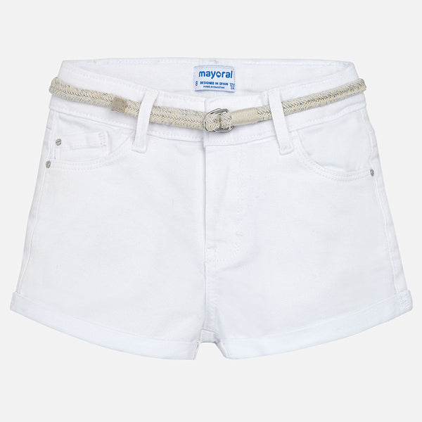 SS18 Mayoral Older Girls White Shorts 275