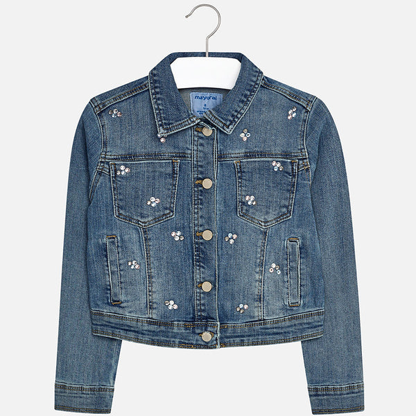 SS18 Mayoral Older Girls Diamante Denim Jacket 423