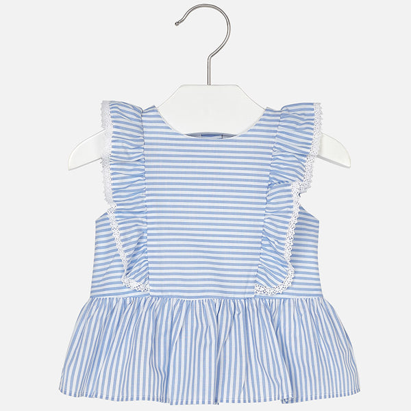 SS18 Mayoral Toddler Girls Blue & White Stripe Leggings Set 1122 & 703
