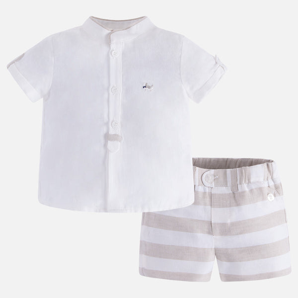 SS18 Mayoral Baby Boys Beige & Cream Shorts Set 1218