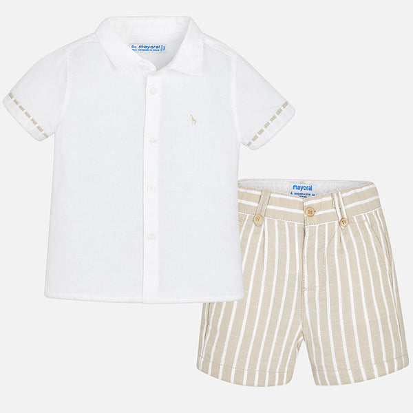 SS18 Mayoral Toddler Boys Beige & White Stripe Shorts Set 1295