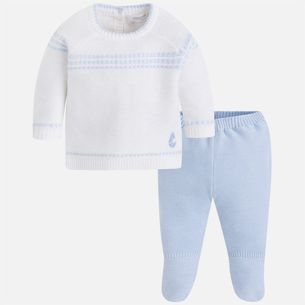 SS18 Mayoral Baby Boys Blue & Cream Knitted Set 1504