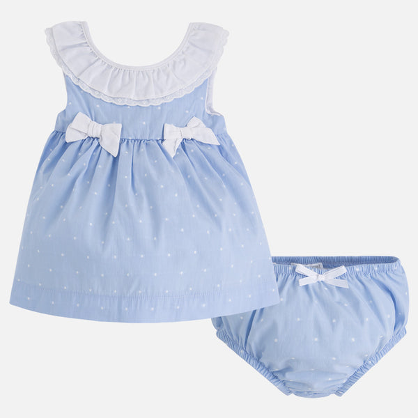 SS18 Mayoral Baby Girls Blue & White Bows Dress & Knickers Set 1852