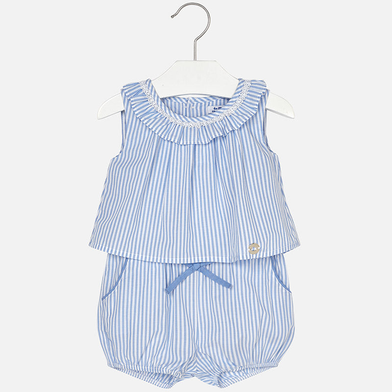 SS18 Mayoral Toddler Girls Blue & White Striped Playsuit 1884
