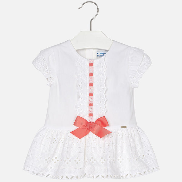 SS18 Mayoral Toddler Girls White & Coral Bow Dress 1920