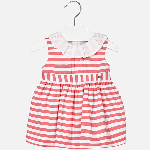SS18 Mayoral Baby Girls Coral & White Stripe Dress 1922