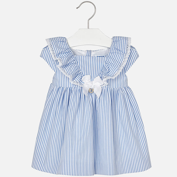 SS18 Mayoral Toddler Girls Blue & White Stripe Dress 1948