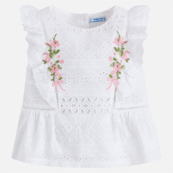 SS18 Mayoral Girls White Embroidered Flower Top 3112