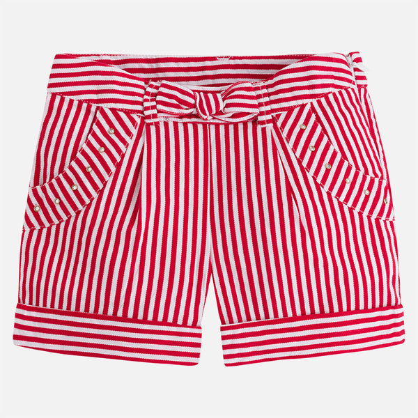 SS18 Mayoral Girls Red & White Stripe Shorts 3208