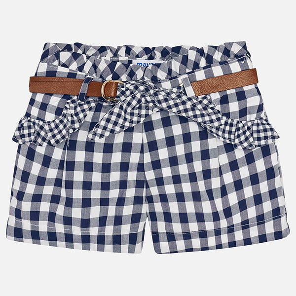 SS18 Mayoral Girls Navy & White Gingham Shorts 3212