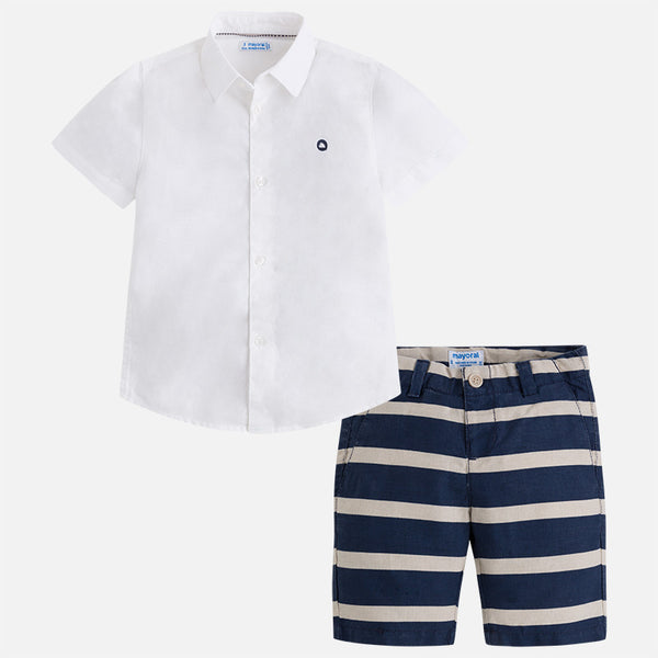SS18 Mayoral Boys Linen Stripe Shorts Set 3284