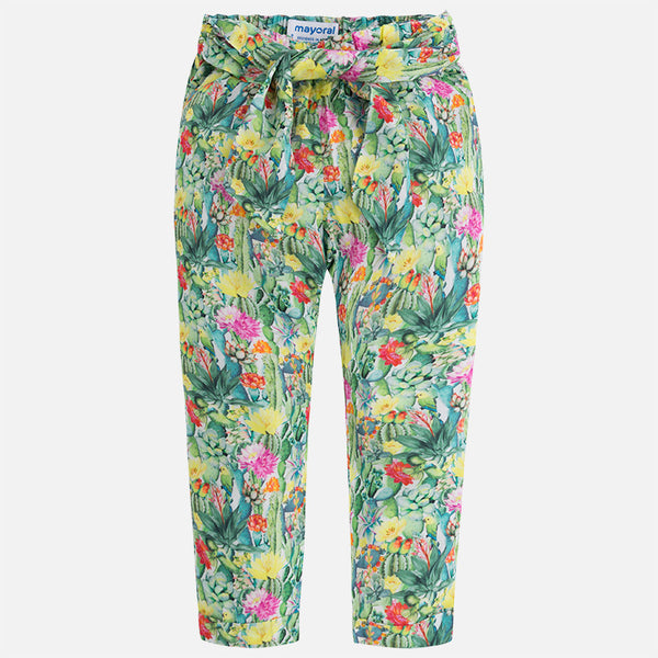 SS18 Mayoral Girls Tropical Flowers and Bird Print Trousers