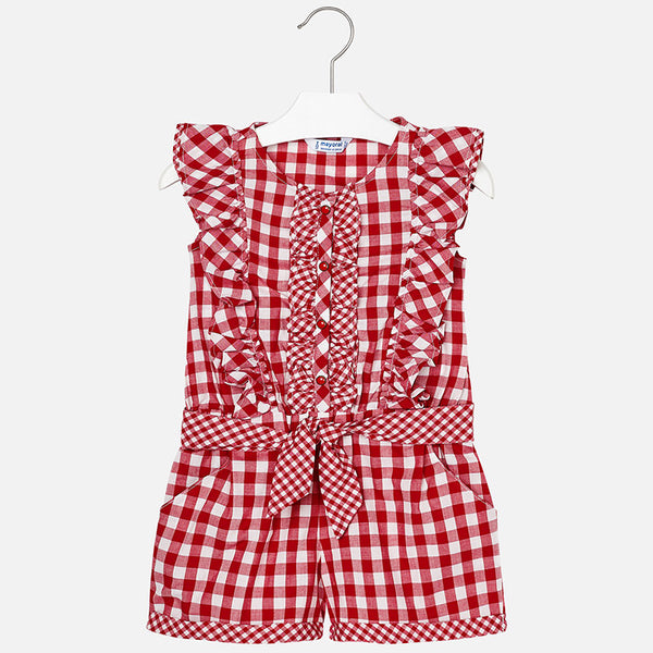 SS18 Mayoral Girls Red & White Gingham Playsuit 3800