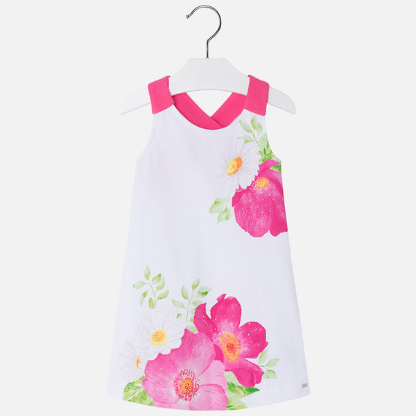 SS18 Mayoral Girls Pink & White Flowers Dress 3994