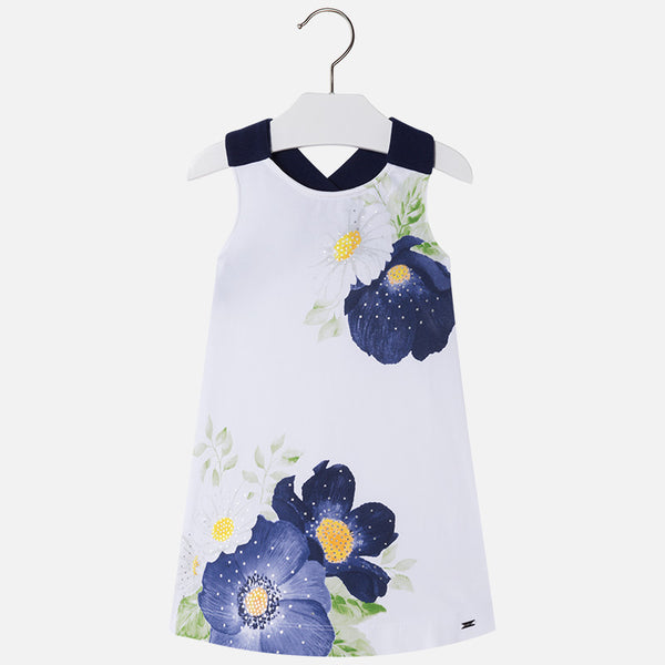 SS18 Mayoral Girls Navy & White Flowers Dress 3994