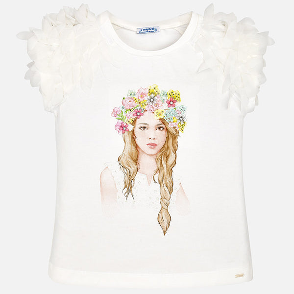 SS18 Mayoral Older Girls Floral Headband Top 6006