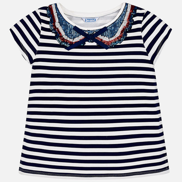 SS18 Mayoral Older Girls Navy & White Bow Top 6014