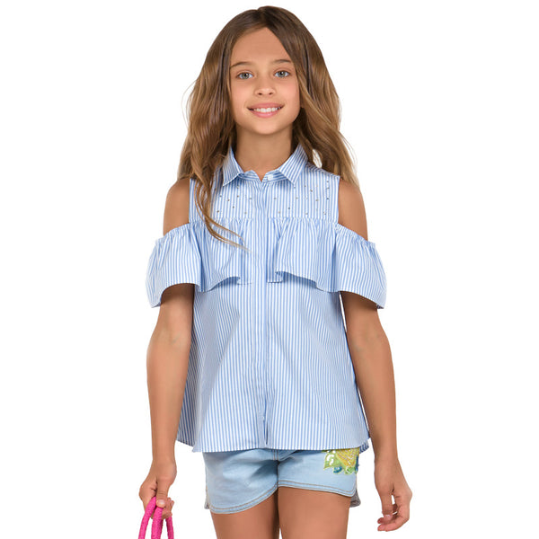 SS18 Mayoral Older Girls Blue & White Stripe Ruffle Blouse 6116
