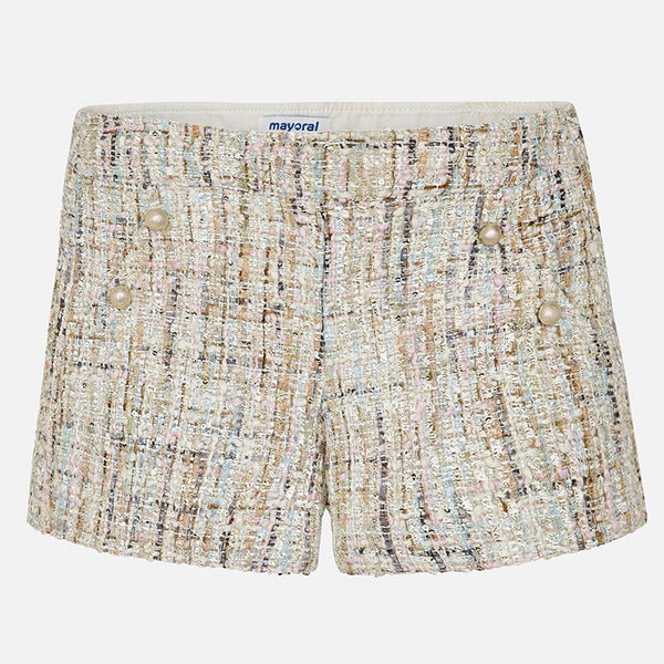 SS18 Mayoral Older Girls Tweed Shorts 6200