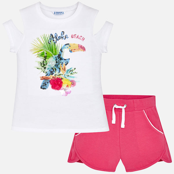 SS18 Mayoral Older Girls 'Aloha Beach' Fuchsia Pink Shorts Set 6220