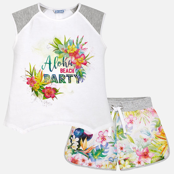 SS18 Mayoral Older Girls Grey Aloha Beach Party Shorts Set 6222