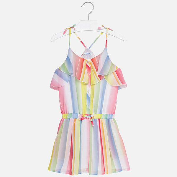 SS18 Mayoral Older Girls Rainbow Playsuit 6806